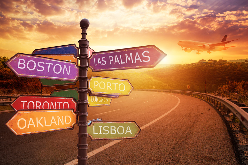Sign with indications of cities travel destination